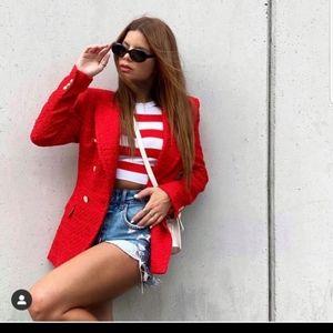 Zara M Red textured tweed blazer jacket coat Kate